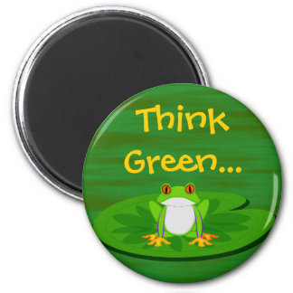 Frog on Lilypad 2 Inch Round Magnet