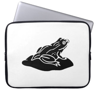 Frog On Lilypad Silhouette Computer Sleeve