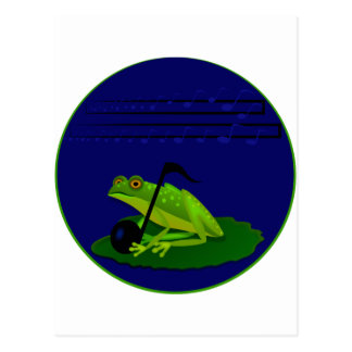 Frog on Lilypad with music notes Postcard