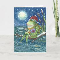 Frog On Log CHRISTMAS GREETING CARD