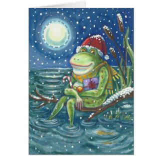 Frog On Log CHRISTMAS GREETING CARD