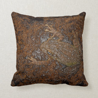 frog on moss embossed look throw pillow