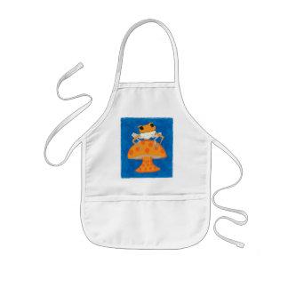 frog on mushroom kids' apron