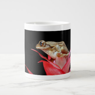 Frog on red flower beautiful photo jumbo china mug