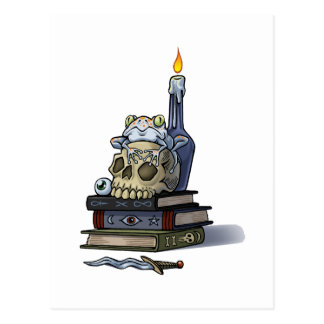 Frog on Skull With Candle Postcard