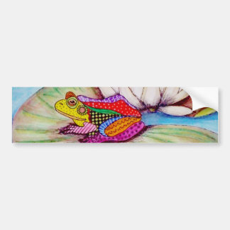 Frog on water lily bumper sticker