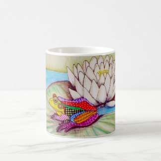 Frog on water lily coffee mug