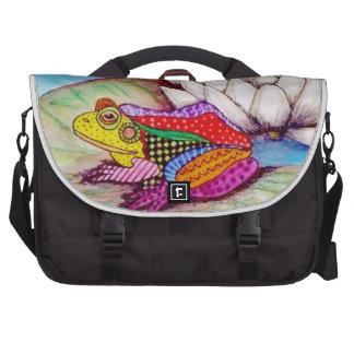 Frog on water lily laptop messenger bag
