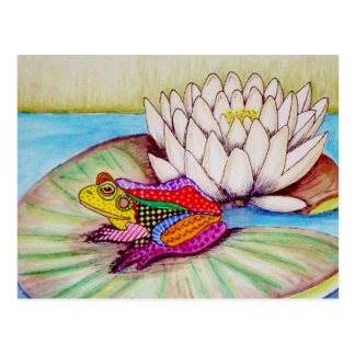 Frog on water lily postcard