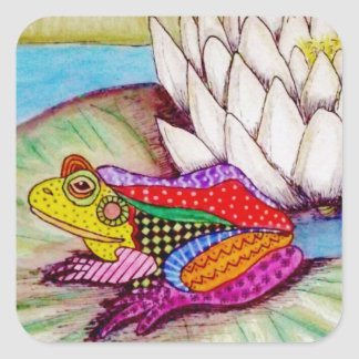 Frog on water lily square sticker