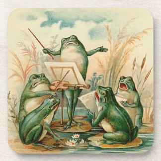 Frog Orchestra Vintage Illustration Beverage Coasters
