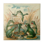 "Frog Orchestra Vintage Illustration Tile<br><div class=""desc"">Very cute vintage illustration of frogs playing music.</div>"