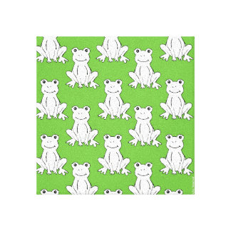 Frog Pattern Art Canvas Stretched Canvas Print