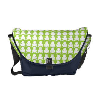 Frog Pattern Green and Navy Courier Bag