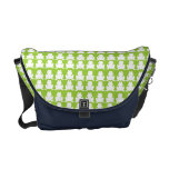 Frog Pattern Green and Navy Courier Bags