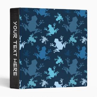 Frog Pattern; Navy, Midnight, Sky, Baby Blue Frogs 3 Ring Binder