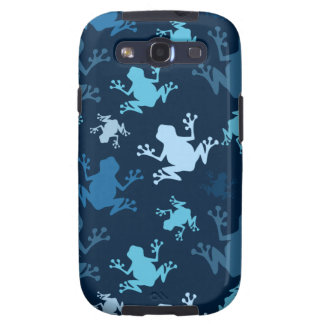 Frog Pattern; Navy, Midnight, Sky, Baby Blue Frogs Galaxy S3 Cover