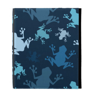 Frog Pattern; Navy, Midnight, Sky, Baby Blue Frogs iPad Folio Cover