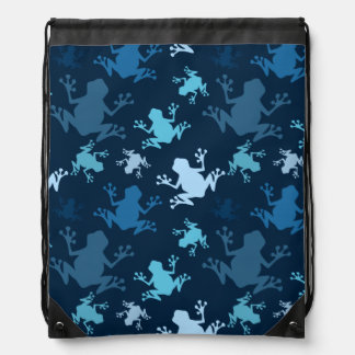 Frog Pattern; Navy, Midnight, Sky, Baby Blue Frogs Drawstring Backpack
