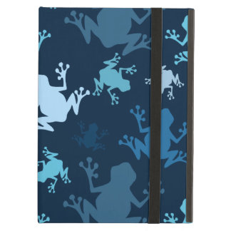 Frog Pattern; Navy, Midnight, Sky, Baby Blue Frogs Cover For iPad Air