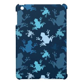 Frog Pattern; Navy, Midnight, Sky, Baby Blue Frogs iPad Mini Case