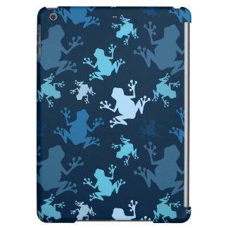 Frog Pattern; Navy, Midnight, Sky, Baby Blue Frogs iPad Air Covers