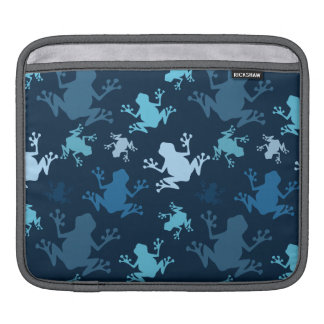 Frog Pattern; Navy, Midnight, Sky, Baby Blue Frogs Sleeves For iPads