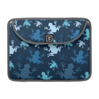 Frog Pattern; Navy, Midnight, Sky, Baby Blue Frogs MacBook Pro Sleeve