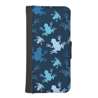Frog Pattern; Navy, Midnight, Sky, Baby Blue Frogs Phone Wallet