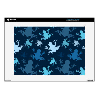 """Frog Pattern; Navy, Midnight, Sky, Baby Blue Frogs 15"""" Laptop Decal"""