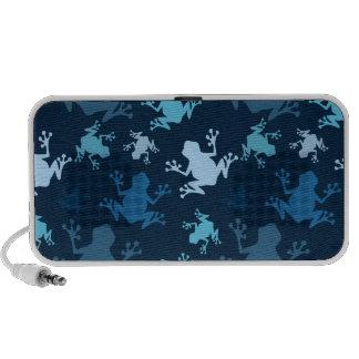 Frog Pattern; Navy, Midnight, Sky, Baby Blue Frogs Notebook Speaker