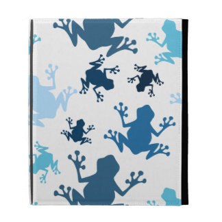 Frog Pattern; Navy, White, Sky, Baby Blue Frogs iPad Folio Covers