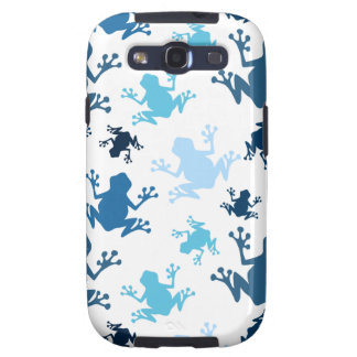 Frog Pattern; Navy, White, Sky, Baby Blue Frogs Samsung Galaxy S3 Case