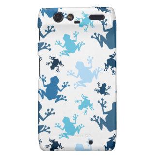 Frog Pattern; Navy, White, Sky, Baby Blue Frogs Motorola Droid RAZR Cases