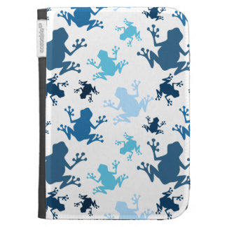 Frog Pattern; Navy, White, Sky, Baby Blue Frogs Kindle Cases