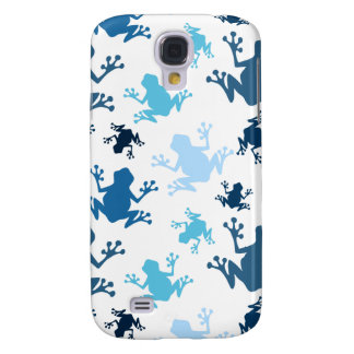 Frog Pattern; Navy, White, Sky, Baby Blue Frogs Samsung Galaxy S4 Covers