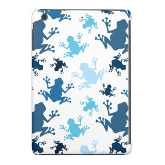 Frog Pattern; Navy, White, Sky, Baby Blue Frogs iPad Mini Cover