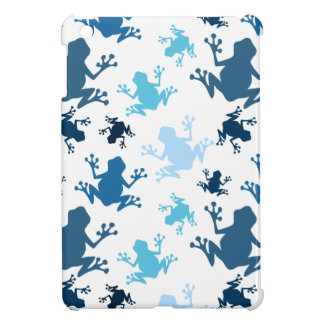 Frog Pattern; Navy, White, Sky, Baby Blue Frogs iPad Mini Cases
