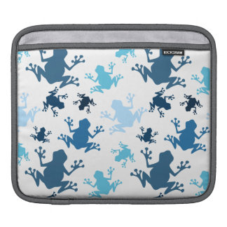 Frog Pattern; Navy, White, Sky, Baby Blue Frogs Sleeves For iPads