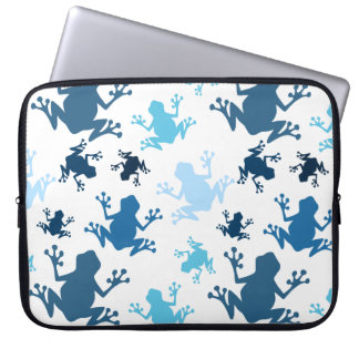 Frog Pattern; Navy, White, Sky, Baby Blue Frogs Computer Sleeve
