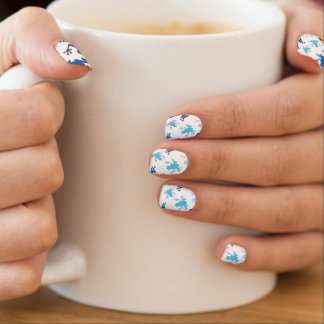 Frog Pattern; Navy, White, Sky, Baby Blue Frogs Minx® Nail Art