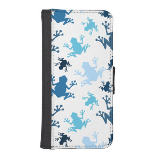 Frog Pattern; Navy, White, Sky, Baby Blue Frogs Phone Wallets