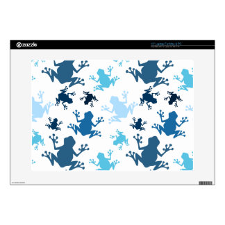 """Frog Pattern; Navy, White, Sky, Baby Blue Frogs Decals For 15"""" Laptops"""