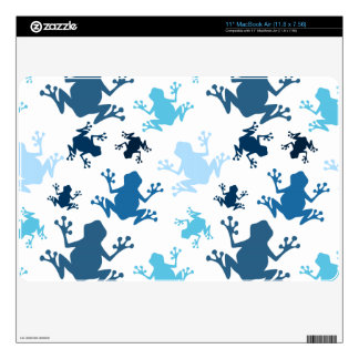 Frog Pattern; Navy, White, Sky, Baby Blue Frogs Decals For MacBook