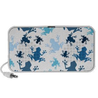 Frog Pattern; Navy, White, Sky, Baby Blue Frogs Travelling Speaker