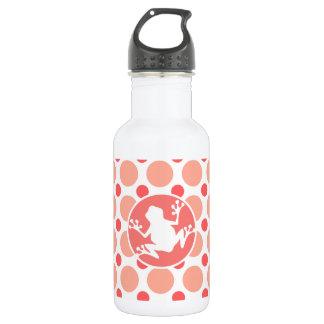 Frog; Pink & Coral Polka Dots 18oz Water Bottle