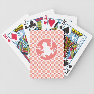 Frog; Pink & Coral Polka Dots Bicycle Playing Cards