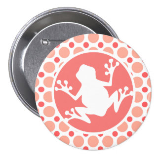 Frog; Pink & Coral Polka Dots Button
