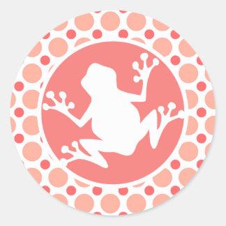Frog Pink Coral Polka Dots Sticker