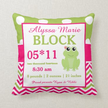 Toddler & Baby themed Frog Pink Green Baby Announcement Pillow